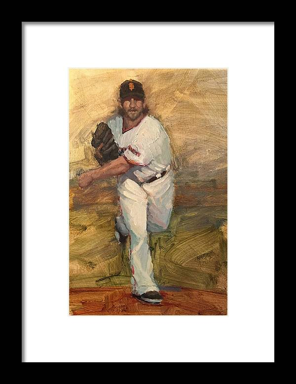 Madison Bumgarner Framed Print featuring the painting Madbum Warmup Sketch by Darren Kerr