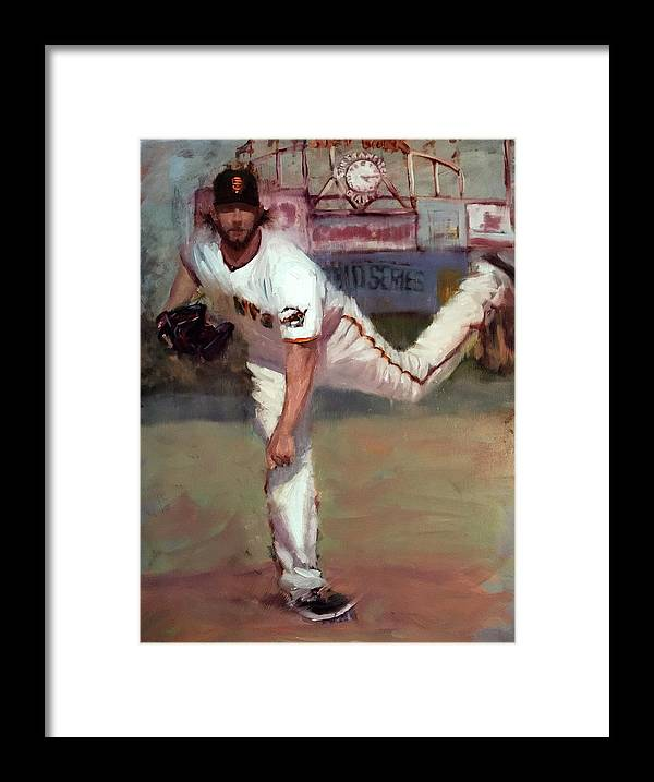 Madison Bumgarner Framed Print featuring the painting Madbum World Series MVP by Darren Kerr