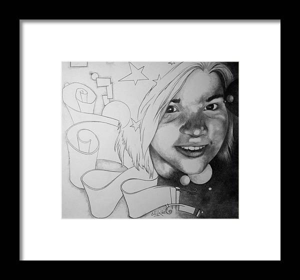Portrait Framed Print featuring the drawing Maddylion by Charles Creasy Jr