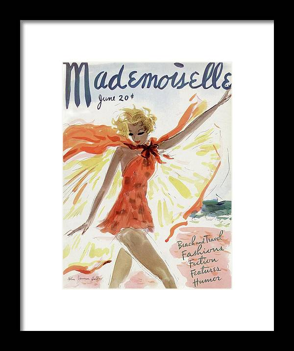 Illustration Framed Print featuring the painting Mademoiselle Cover Featuring A Model At The Beach by Helen Jameson Hall