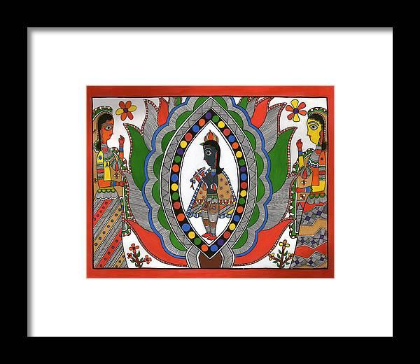 Lord Krishna Framed Print featuring the drawing Madhubani 2 by Himanshu Shrotriya