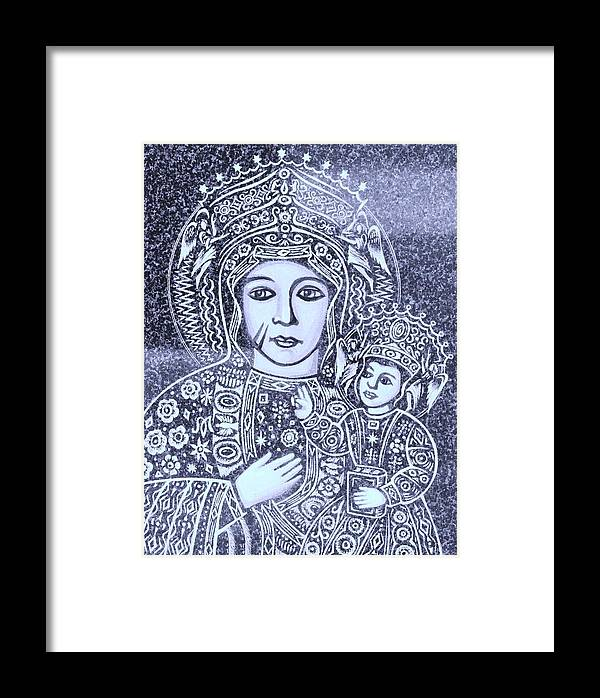 Madonna And Child In Violet Art Framed Print featuring the photograph Madonna And Child 2 by Lisa DiFruscio