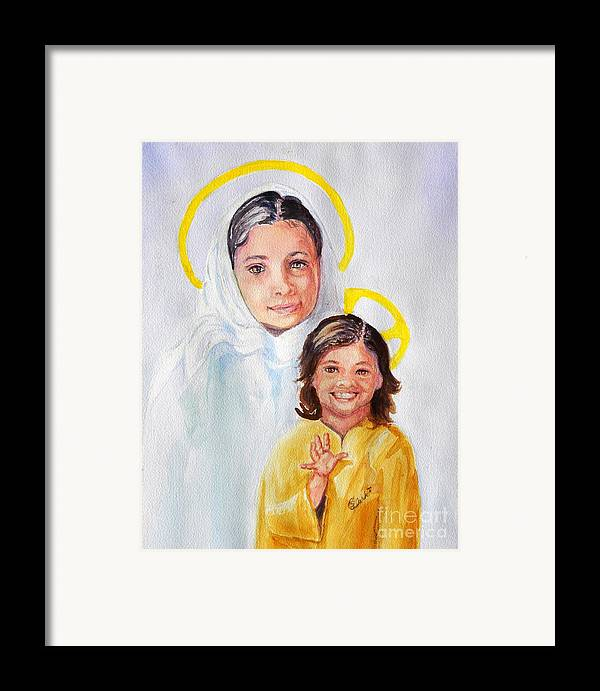 Mary And Jesus Framed Print featuring the painting Madonna And Child by Susan Lee Clark