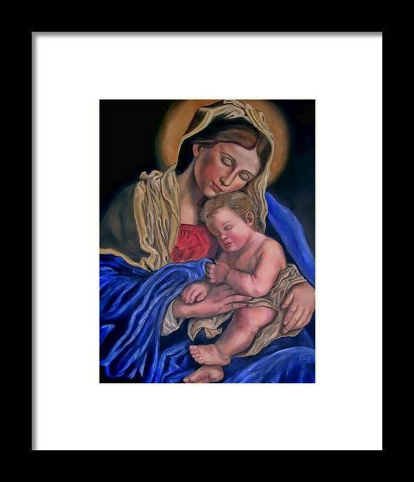 Mary Framed Print featuring the painting Madonna And Child by Terry Sita