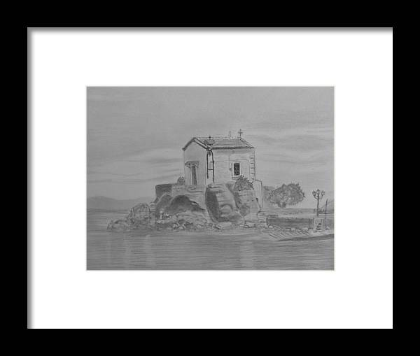 Madonna Mermaid Church Lesbos Framed Print featuring the drawing Madonna Mermaid Church Lesbos by Paul Blackmore
