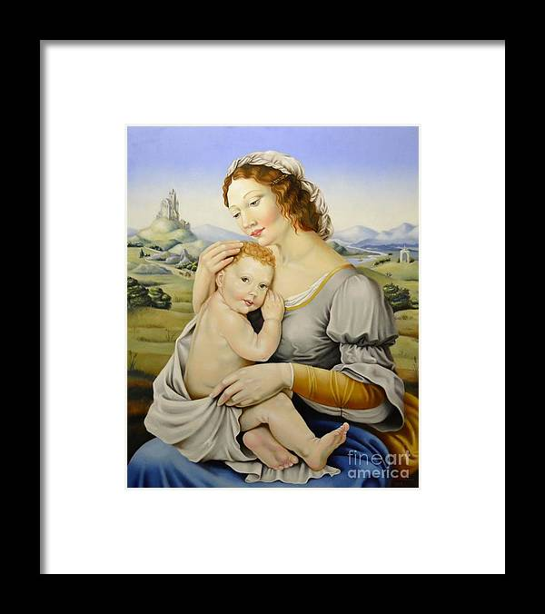 Madonna Framed Print featuring the painting Madonna Of The Fields by Nathalie Chavieve
