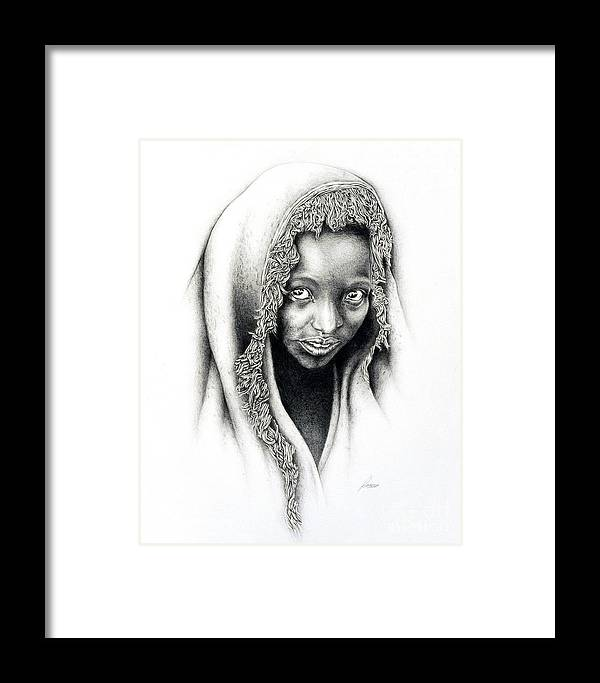 Graphite Framed Print featuring the drawing Madonna by Pamela Yost