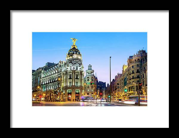Built Structure Framed Print featuring the photograph Madrid, Metropolis Building At Night by Sylvain Sonnet