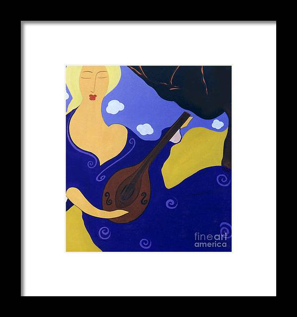 #mandolin Framed Print featuring the painting Magdelinas Song by Jacquelinemari