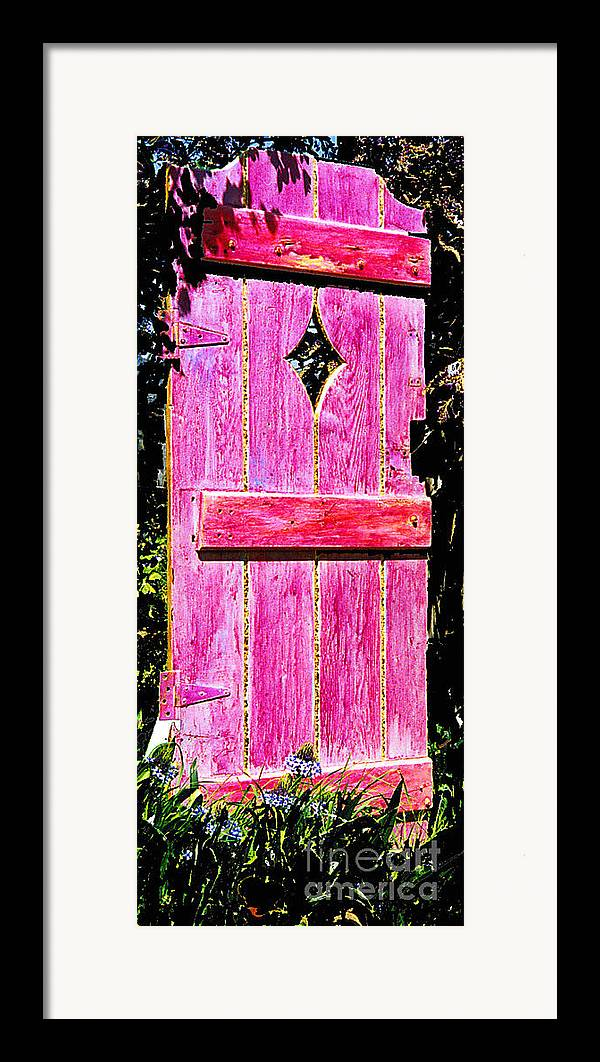 Painted Door Framed Print featuring the sculpture Magenta Painted Door In Garden by Asha Carolyn Young and Daniel Furon