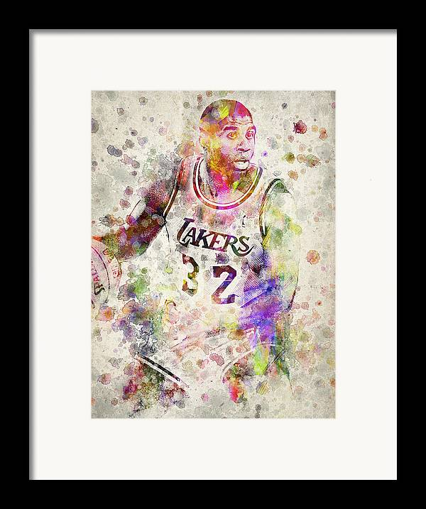Magic Johnson Framed Print featuring the drawing Magic Johnson by Aged Pixel