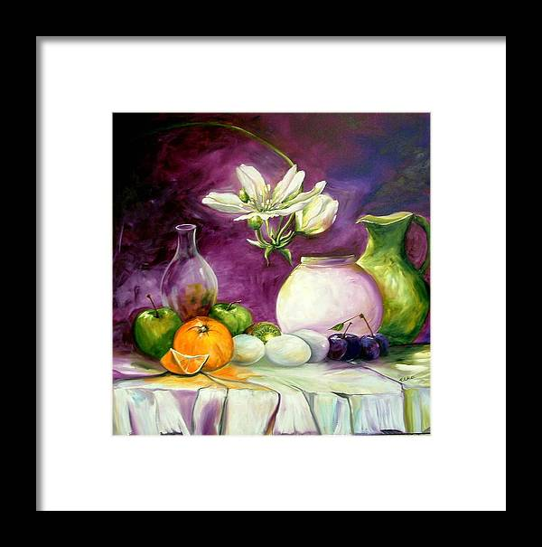 Life Style Framed Print featuring the painting Magic Table With 3 Wishes by Elizabeth Kawala