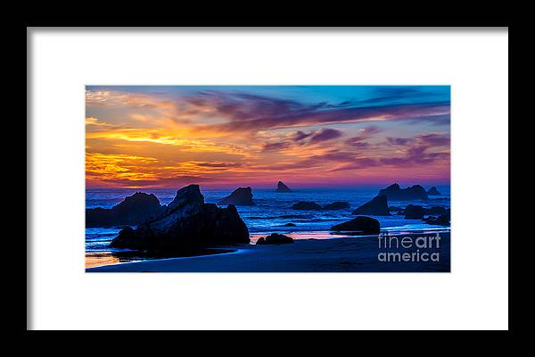 Ocean Sunset Framed Print featuring the photograph Magical Sunset - Harris Beach - Oregon by Gary Whitton