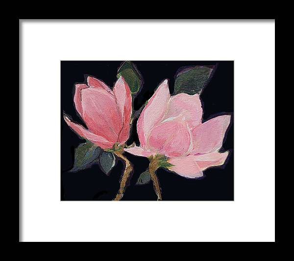 Magnolia Framed Print featuring the painting Magnolia Blossoms by Diane Ursin