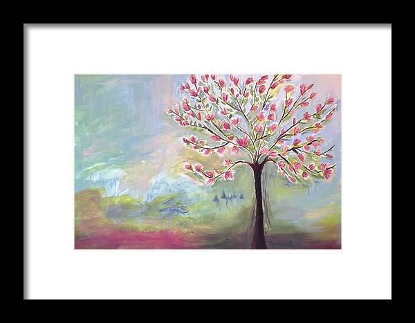Magnolia Tree Framed Print featuring the painting Magnolia Tree by Sasha Moye