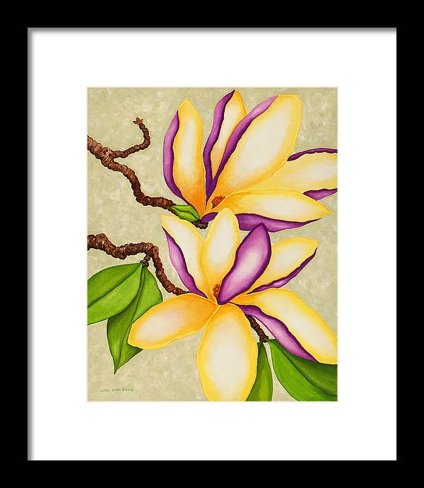 Two Magnolias Framed Print featuring the painting Magnolias by Carol Sabo