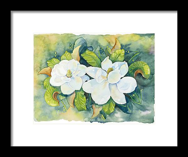 Flowers Framed Print featuring the painting Magnolias by Cathy Locke