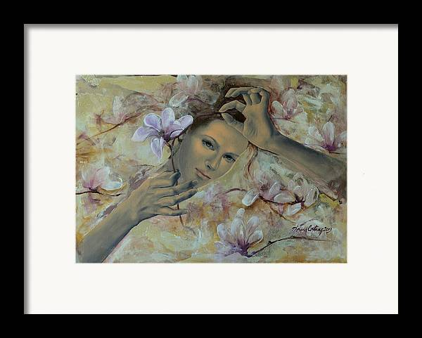 Art Framed Print featuring the painting Magnolias by Dorina Costras
