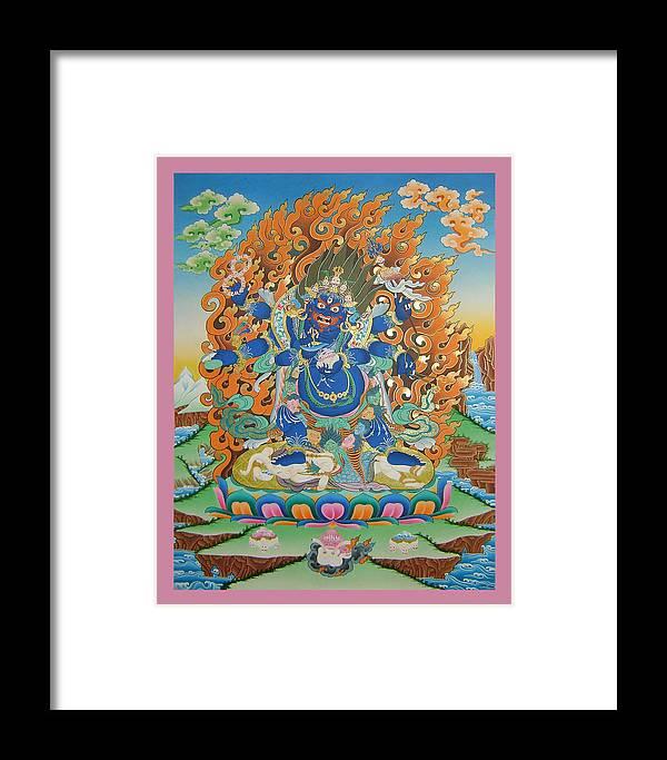 Mahankal Framed Print featuring the painting Mahankal Thangka Art by Ts