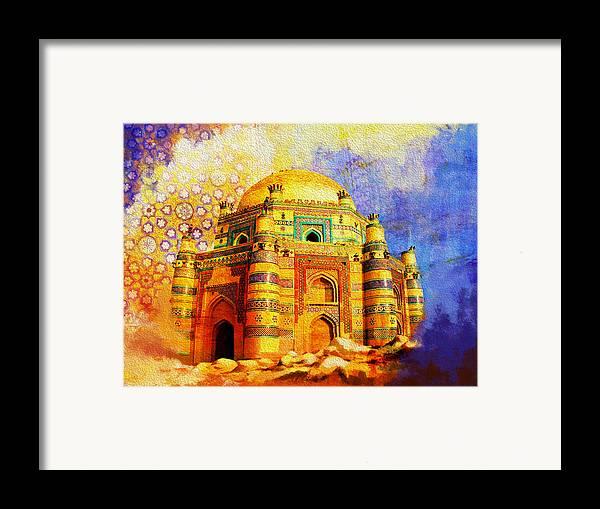 Pakistan Framed Print featuring the painting Mai Jwandi Tomb On Makli Hill by Catf