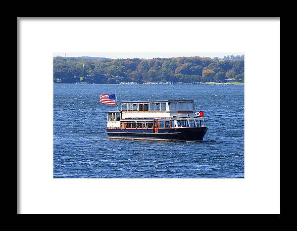 Mail Delivery Framed Print featuring the photograph Mail Delivery Boat Lake Geneva Wisconsin by Kay Novy