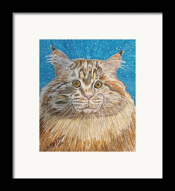 Maine Framed Print featuring the painting Maine Coon Cat by Kathy Marrs Chandler