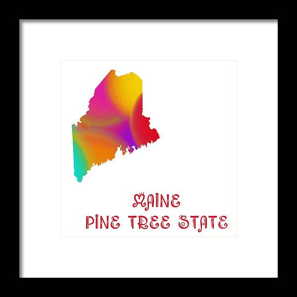 Andee Design Framed Print featuring the digital art Maine State Map Collection 2 by Andee Design