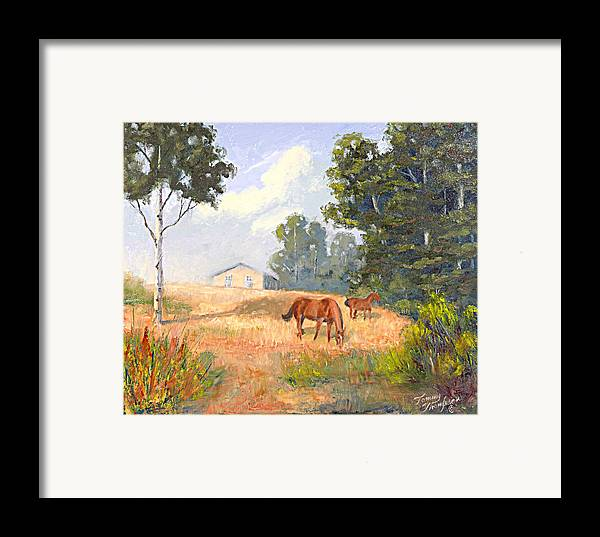 Landscape Framed Print featuring the painting Mainely Grazing by Tommy Thompson