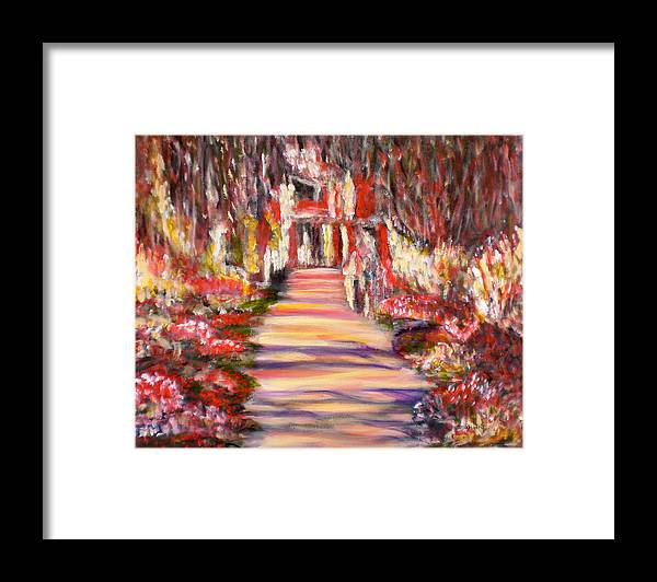 Garden Impressionist Red Yellow Blue Pink Flowers Romantic Reflections Landscape Monet Black Framed Print featuring the painting Majestic Garden by Manjiri Kanvinde