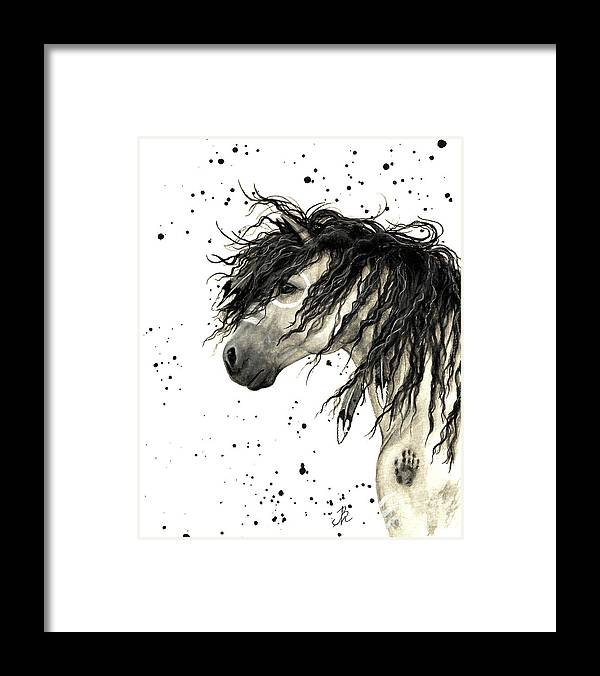 Mustang Horse Art Framed Print featuring the painting Majestic Grey Spirit Horse #44 by AmyLyn Bihrle