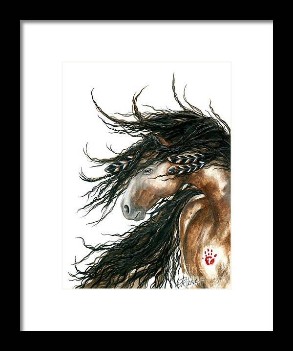 Horse Framed Print featuring the painting Majestic Pinto Horse 80 by AmyLyn Bihrle