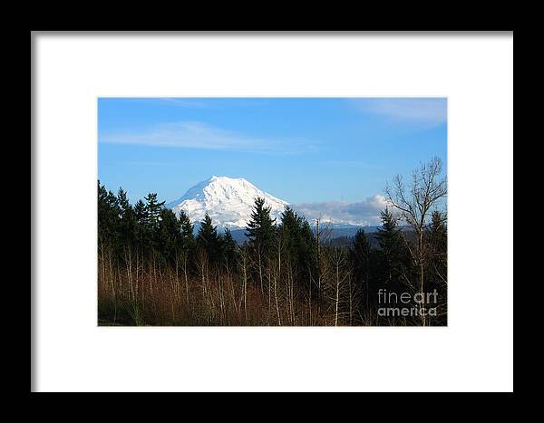 Mountain Framed Print featuring the photograph Majestic Mount Rainier by Jacklyn Duryea Fraizer