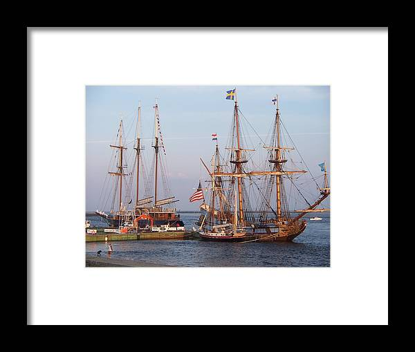 Seascape Framed Print featuring the photograph Majestic Tall Ships by Rosanne Bartlett