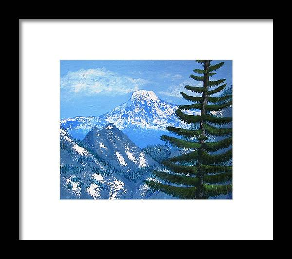 Mountains Framed Print featuring the painting Majesty by A Jill Gaebel
