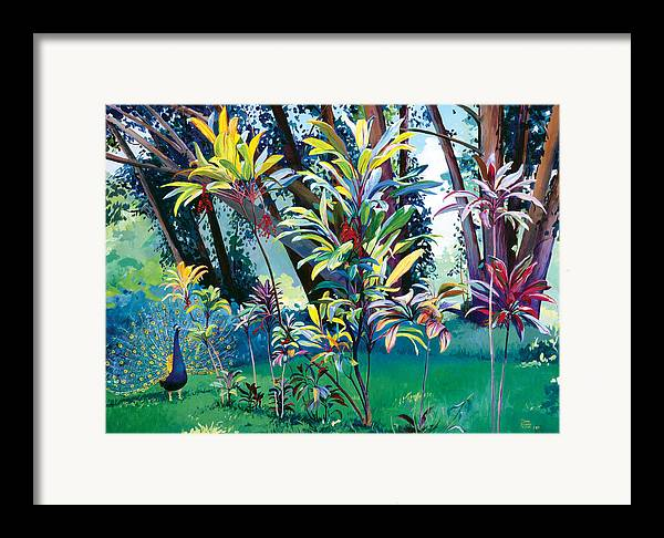 Peacock Framed Print featuring the painting Makawao Peacock by Don Jusko
