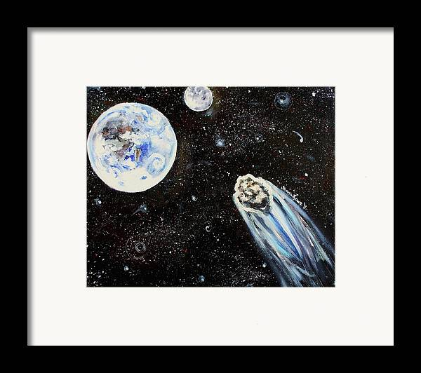 Space Framed Print featuring the painting Make A Wish by Shana Rowe Jackson