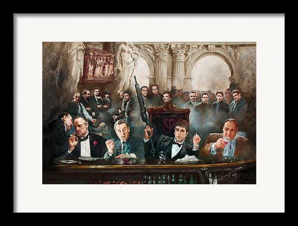 Gangsters Framed Print featuring the mixed media Make Way For The Bad Guys Col by Ylli Haruni
