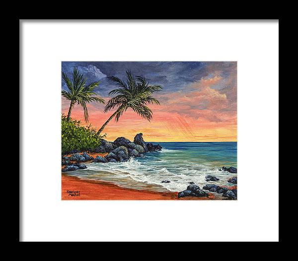 Landscape Framed Print featuring the painting Makena Beach Sunset by Darice Machel McGuire
