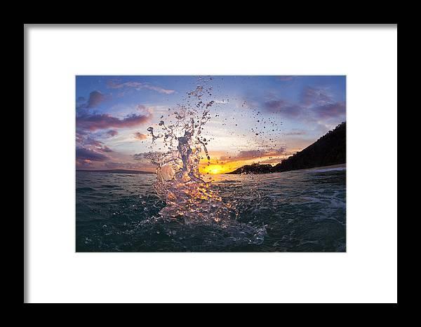 Makena Beach Maui Hawaii Ocean Sunset Water Framed Print featuring the photograph Makena Splash by James Roemmling