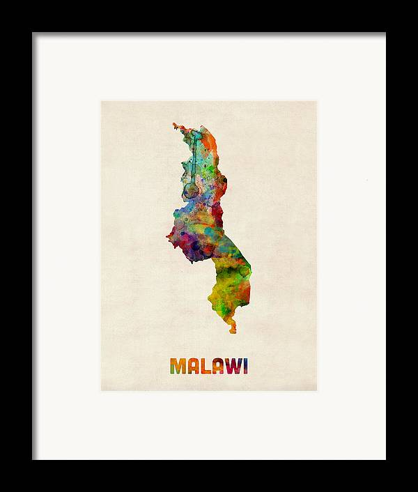Map Art Framed Print featuring the digital art Malawi Watercolor Map by Michael Tompsett