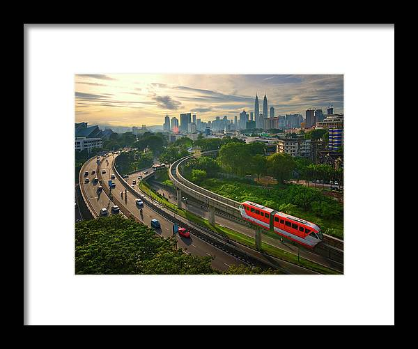Train Framed Print featuring the photograph Malaysia - Kuala Lumpur City by By Toonman