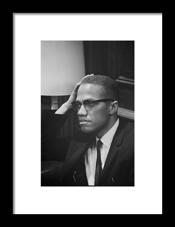 Black And White Framed Print featuring the photograph Malcolm X 1964 by Mountain Dreams