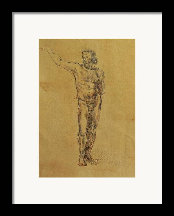 Nude Framed Print featuring the drawing Male Nude 5 by Becky Kim