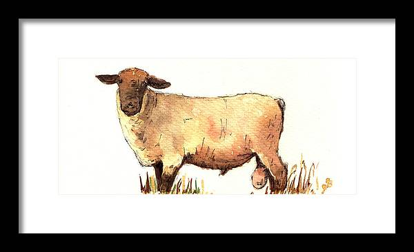 Male Framed Print featuring the painting Male sheep black by Juan Bosco