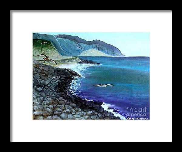 Malibu Beach Framed Print featuring the painting Malibu Beach by Lora Duguay