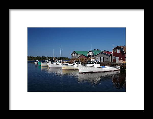 Boats Framed Print featuring the photograph Malpeque Harbor Early Evening by Frank Falzett