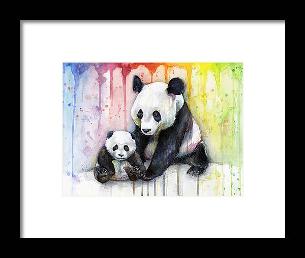Watercolor Framed Print featuring the painting Panda Watercolor Mom And Baby by Olga Shvartsur