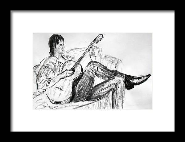 Musician Drawing Framed Print featuring the drawing Man And Guitar by Asha Carolyn Young