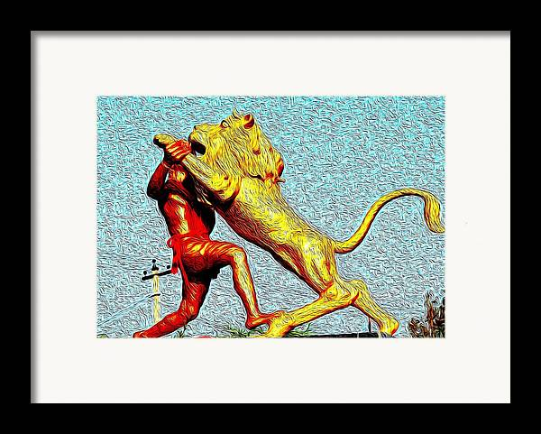 Man Framed Print featuring the photograph Man Fighting With Lion Bravery by Deepti Chahar