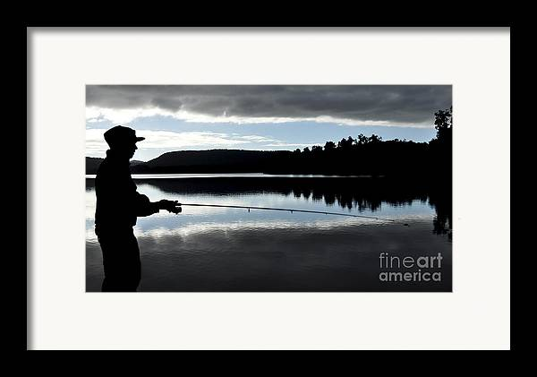 Fishing Framed Print featuring the photograph Man Fly Fishing by Judith Katz
